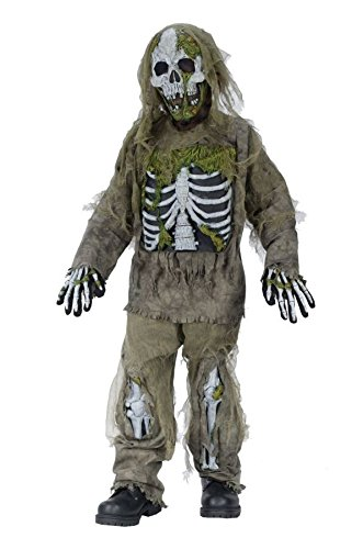 Fun World Skeleton Zombie Costume, Medium 8-10, Multicolor -