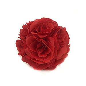 "Silk Decor Rose Kissing Ball in Deep Red - 5"" Wide - Special 40"