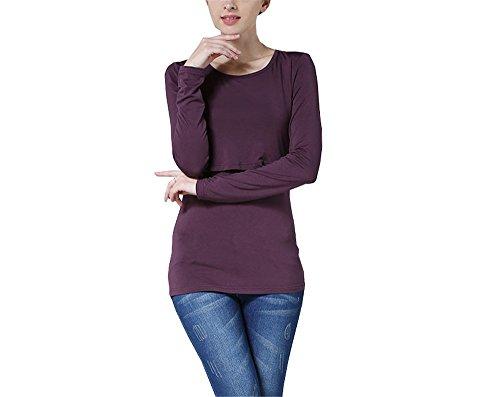 Manica Doppi Maglietta Loose Basic Top Purple1 Semplice Premaman Scollo Rotondo T Elekikil Comoda Strati Bluse shirt Lunga Donna Colore Puro Cotone Allattamento Casual xFnzPwqR