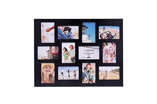 Malden 4x6 12-Opening Collage Picture Frame - Displays Twelve 4x6 Pictures - Black