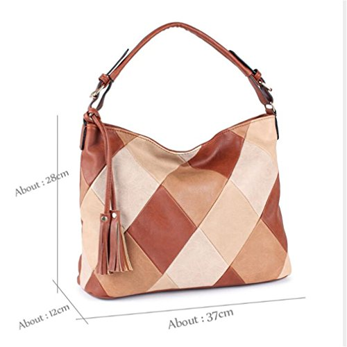 Amazon.com: Chic-Dona Bags For Women Patchwork Handbags Women Bags PU Leather Shoulder Bags Female Blue About 37cm 12cm 28cm: Sports & Outdoors