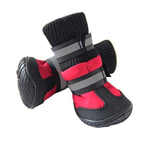 nbsp;pcs Outil Neige Doux Imperméables Coque Pluie Antidérapant Chiens Bottes Red Chaussures 4 Animal lot Chien Winter dzdHB6