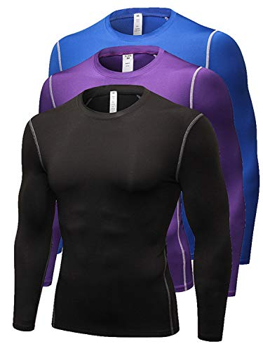 Queerier Men's Long Sleeve Compression Shirt Base Under Layer Workout Top for Running 3 - Thermal Purple