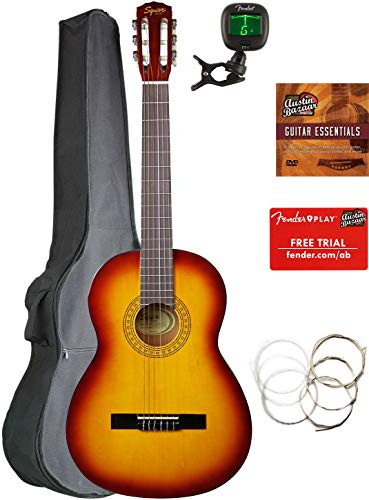 Fender Squier Classical Acoustic Guitar - Sunburst Bundle with Gig Bag, Tuner, Strings, Fender Play Online Lessons, and Austin Bazaar Instructional DVD