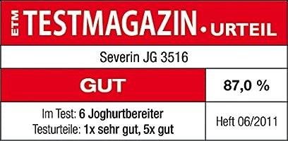 SEVERIN Yogurtera, Incl. 7 Tarros de 150 ml, Marcador de Memoria, JG3516, Blanco/Gris