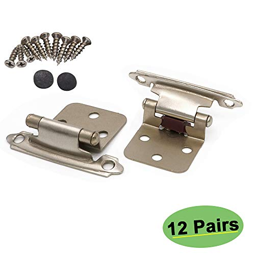 homdiy Cabinet Hinges Satin Nickel 24 Pack(12 Pairs) - SCH30SNB Self-Closing Decorative, Face Mount, for Variable Overlay Kitchen Cabinet Doors with Sound Dampening Door Bumpers