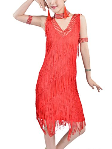 [Whitewed Fringe 1920's Great Gatsby Party La Look Flapper Clothing Dress Costume, Red, 8/10] (The Great Gatsby Costumes To)