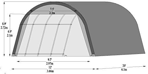 Single Carport Shelter 12' x 20' Heavy Duty 10Oz PE Fabric Galvanized Steel Frame