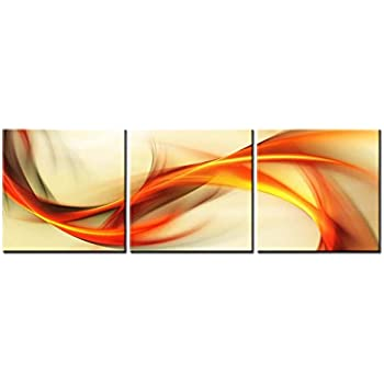 Canvas Print Wall Art Painting For Home Decor Abstract Elegant Wavy In  Orange Golden White 3