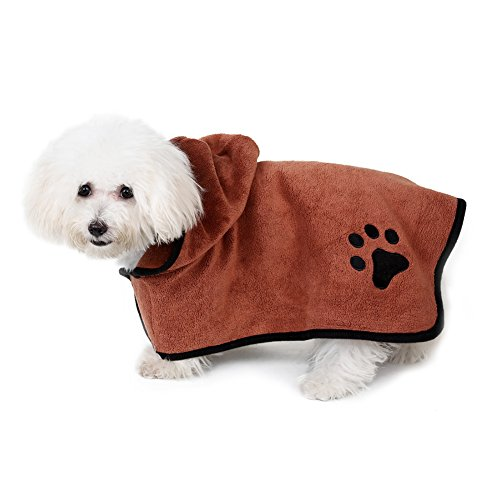 Microfibre Seat (Awtang Bathrobe for Dogs Soft Pet Bathrobe Microfibre Dog Robe Dog Towel Quick Drying Brown 40CM)