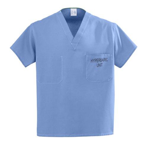 Medline Unisex Reversible Hyperbaric Unit Scrub Top, XX-Large, Ceil Blue