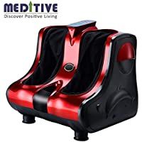 MEDITIVE Massager, Automatic Foot Massager Home Acupoint Kneading Massager Middle-aged Leg Massager Woman Leg Instrument Men's Foot Massager (Color : Red, Edition : Digital display)