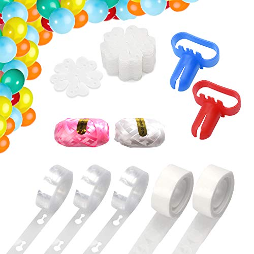 Balloon Decorating Strip Kit 48ft Arch and Garland Strip Tape, 2Pcs Balloon Tie Tools, 2 Rolls Dot Glue, 20 Flower Clips, 2 Rolls Ribbon for Birthday, Wedding, Baby Shower, Xmas party