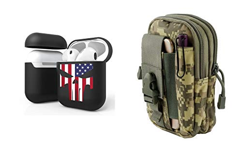 Bemz [Slim Lightweight] Protective Case Cover Bundle for Apple AirPods (Gen 1, 2) with EDC Tactical Travel Pouch and Atom Cloth - (USA Skull Flag/ACU Pixel Camo) from Bemz Depot