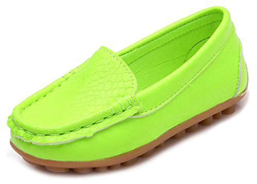 le Kid Boys Girls Soft Synthetic Leather Loafer Slip-On Boat-Dress Shoes/Sneakers,Green,SHF103 CN33 ()