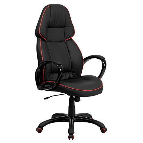 High Back Black Vinyl Executive Swivel Office Chair with Red Piping Border