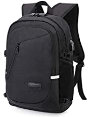 MODAR Laptop Backpack, Anti Theft USB Business Backpack Fits 15.6 inch Computer/Notebook/Tablet with USB Charging Port and Earphone Port, Backpack for Men & Women (15.6'' Upgrade Black)