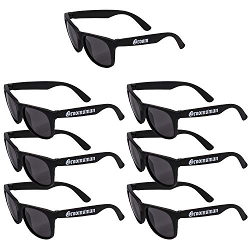 Groom & Groomsman Sunglasses, Wedding Party Gift - Set of 7 | Bachelor Party Supplies, Groomsmen Gifts, Wedding Decorations