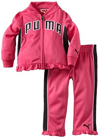 PUMA   Kids Baby Girls' Tricot Jacket And Pant Set, Beetroot Purple, 18 Months