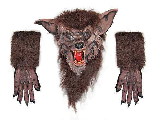 Men's Werewolf Mask and Glove Set (Brown)