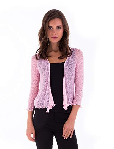 SHU-SHI Womens Sheer Shrug Tie Top Cardigan Lightweight Knit,Baby Pink,One Size