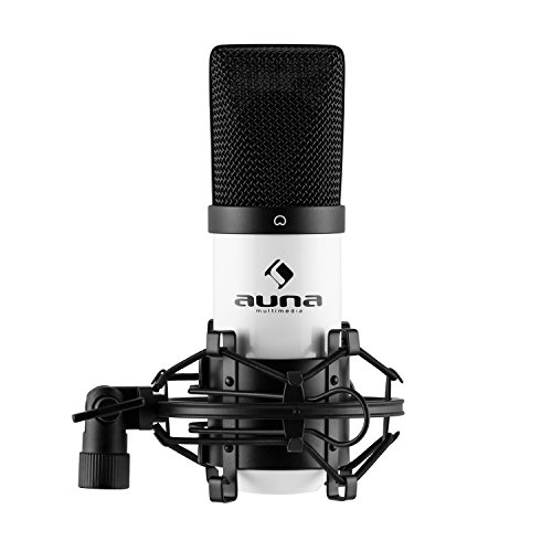 auna MIC-900WH USB Cardioid Condenser Microphone • Studio Recording • Spider Shockmount • Plug & Play • 320Hz – 18KHz • Built-In 16mm Capsule • White