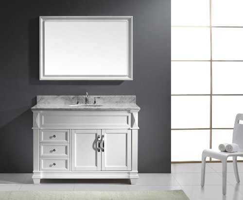 Virtu USA MS-2648-WMRO-WH Transitional 48-Inch Single Sink Bathroom Vanity Set, White 48 Transitional Bathroom Vanity