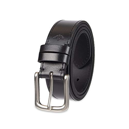Dockers Men's Casual Leather Belt - 100% Soft Top Grain Genuine Leather Strap with Classic Prong Buckle, Black, 36