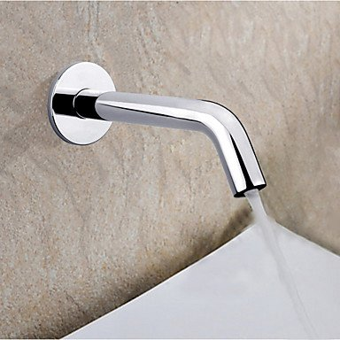 Electronic Automatic Sense Basin Tap Wall Mount Water Saving Faucet Battery Or 220V Power , silver by FAUCET&YAMEIJIA