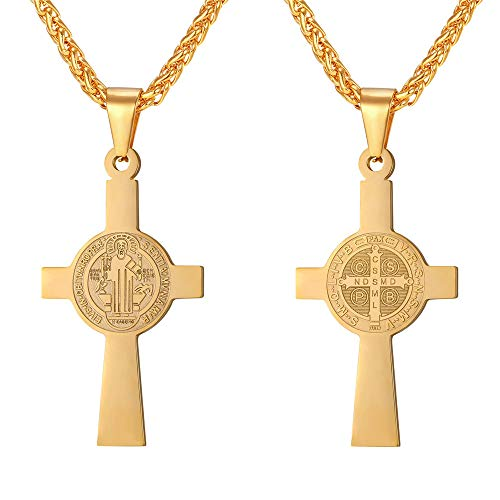 e1f10a1026d Yellow Gold Plated Saint Benedict Medal Cross Pendant Necklace Stainless  Steel Jewelry