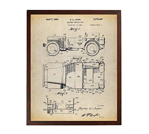 Turnip Designs Willy's Jeep Patent Poster Art Print US Army Military Vehicle Patent Veteran TNP14