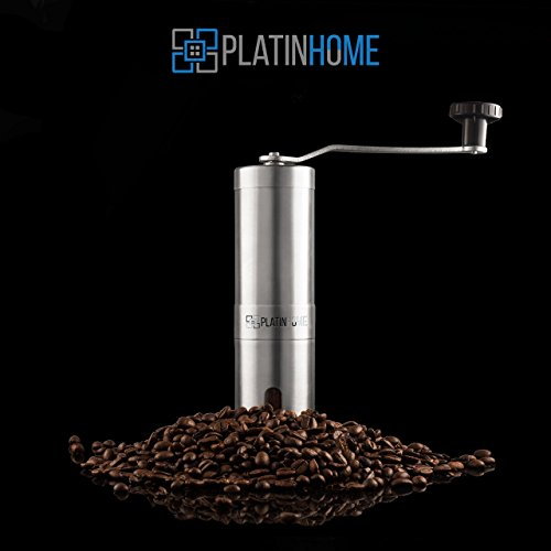 Stainless Steel Manual Coffee Grinder W/Ceramic Burr for Perfect Coffee Every Time - Quiet and Easy to Use, Perfect for Travel/Home - W/FREE Brush, Spoon, Pouch and E-book by PlatinHome by PlatinHome (Image #7)