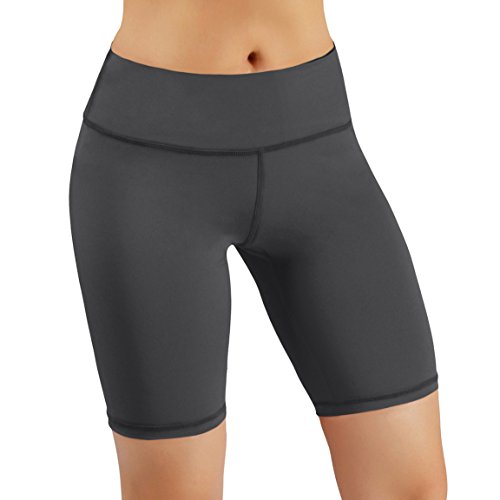 ODODOS by Power Flex Women's Tummy Control Workout Running Shorts Pants Yoga Shorts With Hidden Pocket, Gray, X-Large