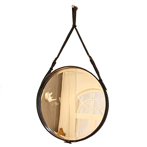 Wall Bathroom Mirror with Faux Leather Rope| Round Make-Up Cosmetic Wall Hanging Mirror| for Living Room,Bedroom,Black/Brown
