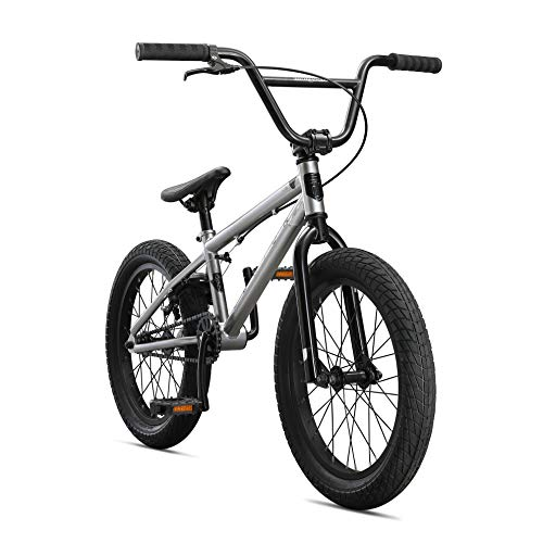 Mongoose Legion L18 Freestyle Sidewalk BMX Bike for Kids, Children and Beginner-Level Riders, Featuring Hi-Ten Steel Frame and Micro Drive 25x9T BMX Gearing with 18-Inch Wheels, Silver