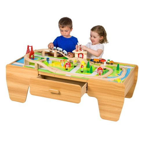 80 Piece Wooden Train Set with Table Playset Toy