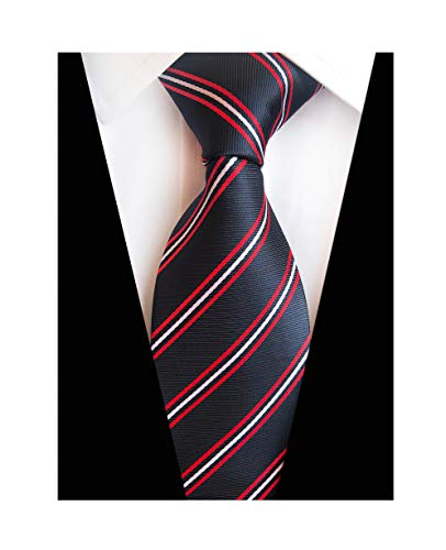 Mens Black Red White Stripe Tie Spring Seft Poly Woven Party Cool Necktie 3.15