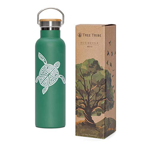 Tree Tribe Stainless Steel Water Bottle - 20oz Vacuum Insulated Water Bottle, Double Wall Metal Reusable, Keeps Water Cold All Day, Leak Proof, No Lead, BPA Free, Eco Friendly, Wide Mouth