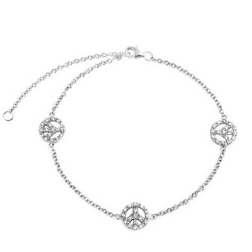 3 Multi Peace Sign CZ Symbol Anklet Charm Cubic Zirconia Anklet Link Ankle Bracelet 925 Sterling Silver 9 to 10 Inch