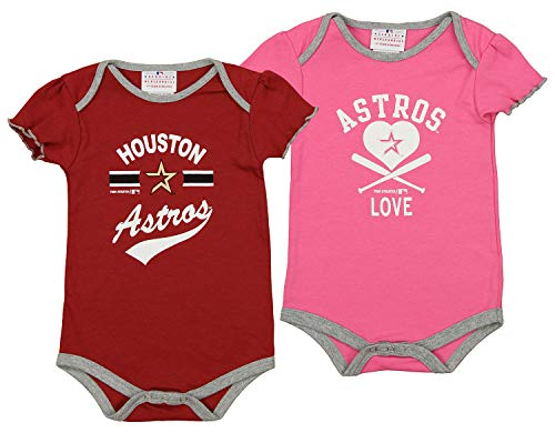 Outerstuff MLB Newborn and Infant's Houston Astros 2 Pack Bodysuit Set, Pink 0-3 ()
