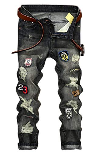 Slim Skinny Pierna Jeans Grau Hombre Vintage Regular Distressed Estilo Fit Denim Recta Patchwork Jeans Pants Ripped wz7tzq0