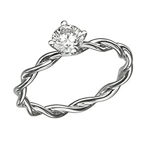 GIA Certified 14k white-gold Round Cut Diamond Engagement Ring (0.35 cttw, D Color, VS1 Clarity)