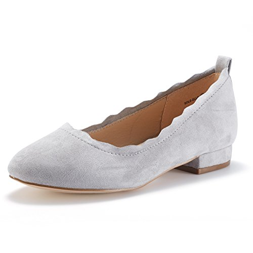 (DREAM PAIRS Women's Sole_ELLE Grey Fashion Low Stacked Slip On Flats Shoes Size 5 M US)