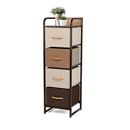 YOUNIS Home Dresser Storage Drawers, 4 Drawers Storage Chest Drawers Organizer Cabinet, Vertical Tower Drawers Steel Frame Wood Top Fabric Bins - Organizer Unit for Homes, Offices, Dormitories (Dresser Top Cabinet)
