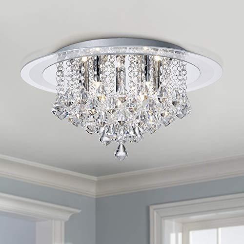 Bestier Modern Chroom Kristal Regendruppel Inbouw Kroonluchter Verlichting LED Plafondlamp Armatuur Lamp voor Eetkamer…