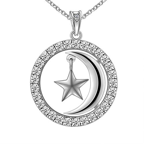 Besilver Moon and Star Necklace Charm 925 Sterling Silver Women Men Unisex Pendant Necklace Round Moon Stars Cremation Jewelry for Mom Dad Boyfriend Birthday Anniversary FP0042W (Shaped Moon Necklace)