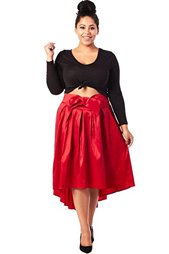 (Plus Size) Taffeta Pleats High Low Hem Banded Waist Bow Embellishment Skirt