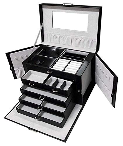 Jewelry Organizer Jewelry Box Jewelry Case Organizer, Jewlery organizers and Storage with Lock, Black/Grey Pu Leather