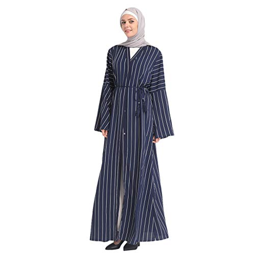 (Casual Dress Womens Cardigan Dress Muslim Outwear Kimono Abaya Dubai Tunic Kaftan Autumn Robe Blue)