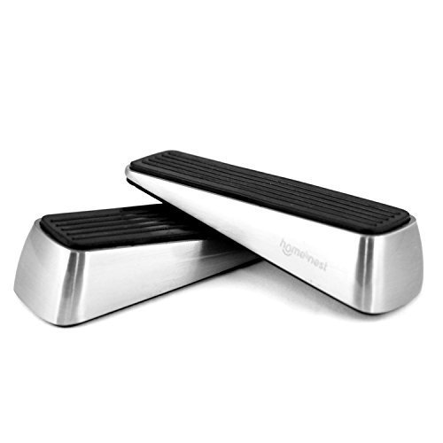 Homesnest Door Stopper, Heavy Duty Wedge that Holds Doors Firmly and Doesn't Budge, Made of Rubber and Stainless Steel (Contains 2 Stoppers) Door Pinch as Bonus ()